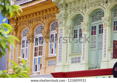 Authentic houses of Singapore - stock photo