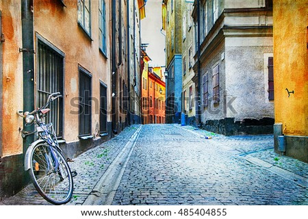Authentic narrow streets of old town of Stockholm, Sweden, artistic picture