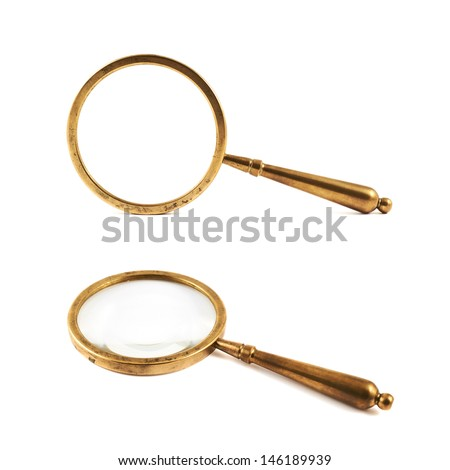 Authentic old metal magnifying glass isolated over white background, set of two foreshortenings - stock photo