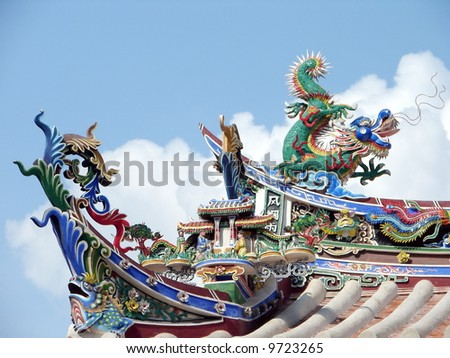 Authentic oriental temple roof's architecture, against cloudy blue sky