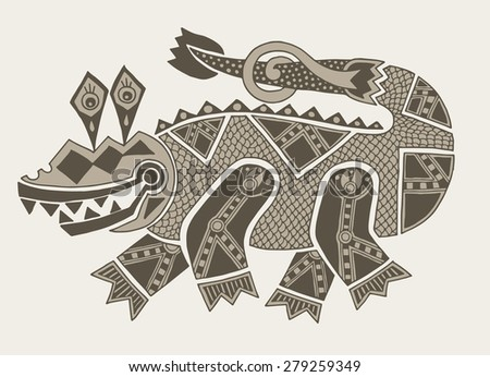 authentic original decorative drawing of crocodile,  raster version illustration - stock photo