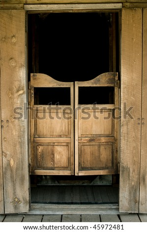 Authentic saloon doors in historic western town, South Dakota - stock photo