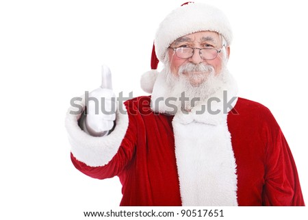 authentic Santa Claus with real beard and great smiling giving thumb up, isolated on white background - stock photo
