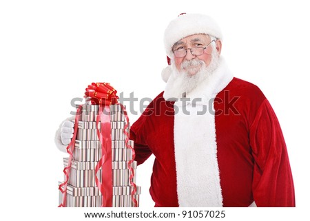 authentic Santa Claus with  stack of present , isolated on white background - stock photo