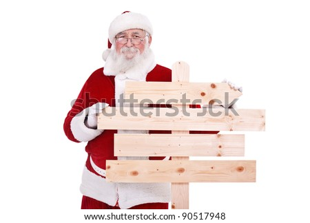 authentic Santa Claus with wooden signboard, isolated on white background - stock photo