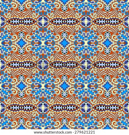 authentic seamless geometry vintage pattern, ethnic style ornamental background, ornate floral decor for fabric design, endless texture,  raster version illustration - stock photo