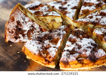 Authentic sponge cake with raisins, cinnamon and apples. Morning atmospheric lighting, fashionable trendy spot soft focus. Preparation for design creative menu. Culinary pastries. - stock photo
