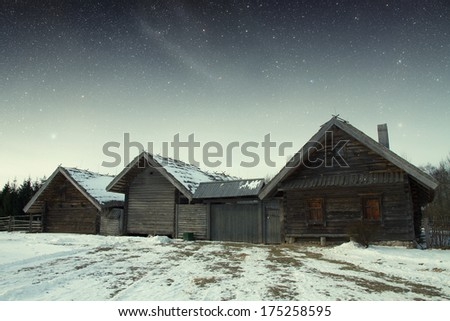 authentic 18th century village in Russia. Elements of this image furnished by NASA