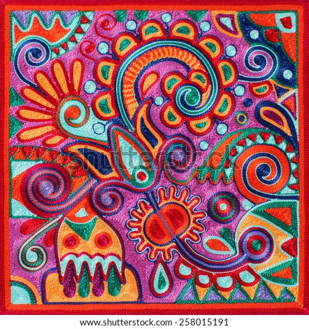 authentic ukrainian yarn painting - ancient and traditional technic of artwork creation, flower design - stock photo