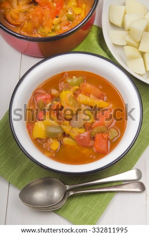 authentic vegetarian hungarian letcho with potatoes - stock photo