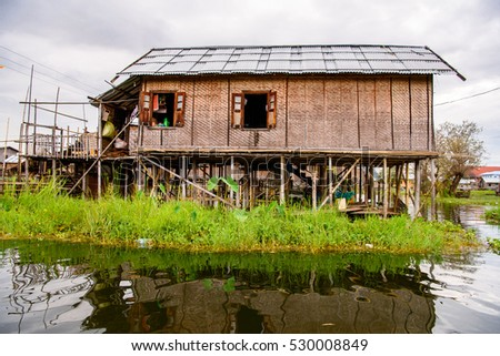 Authentic village over the Inle Sap,a freshwater lake in the Nyaungshwe Township of Taunggyi District of Shan State, Myanmar