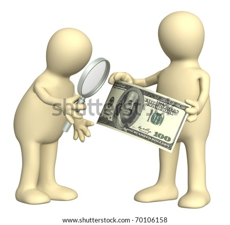 Authentication of the banknote. Two puppets with loupe and dollar banknote - stock photo