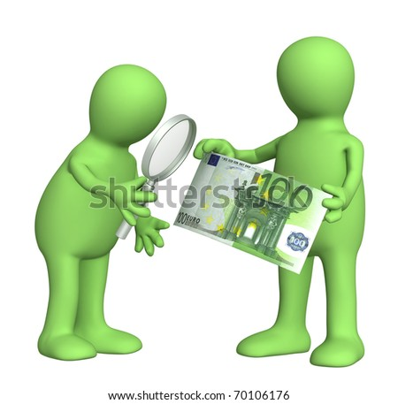 Authentication of the banknote. Two puppets with loupe and euro banknote - stock photo