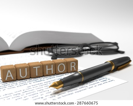 Author - dices containing the word author, a book, glasses and a fountain pen. - stock photo
