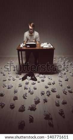 Author looking for a good idea for her novel - stock photo