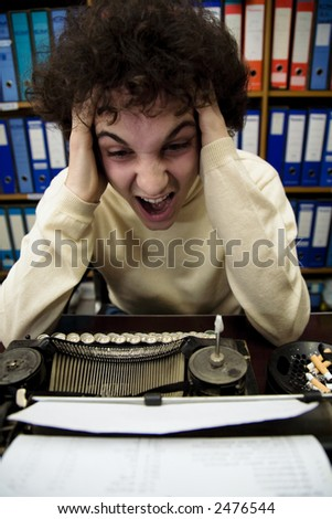 author looking for inspiration...he can't find a good idea - stock photo