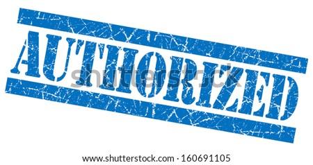 Authorized grunge blue stamp - stock photo