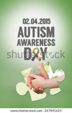 Autism awareness day against green vignette - stock photo