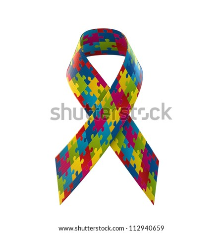 Autism Awareness Ribbon - stock photo