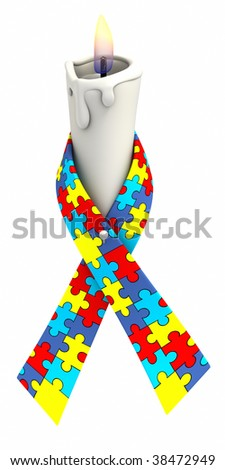 Autism awareness ribbon with puzzle piece pattern wrapped around candle on white background. Clipping path included. - stock photo