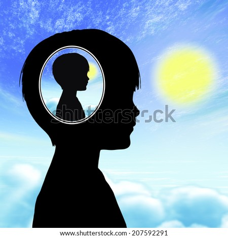 Autism Concept Boy. Child having problems with social communication and interaction, living in his or her own world, being isolated from others.  - stock photo