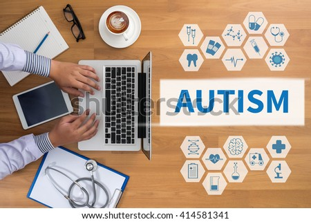 AUTISM CONCEPT Professional doctor use computer and medical equipment all around, desktop top view, coffee - stock photo