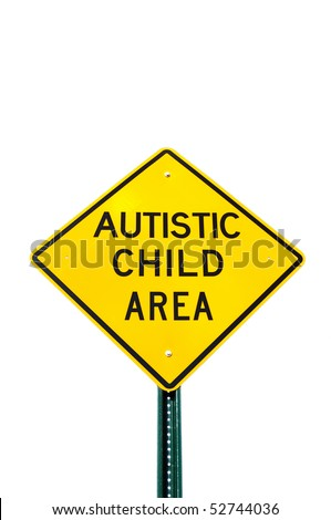 Autistic Child Area Sign Isolated on White - stock photo