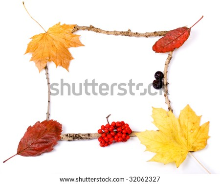 Autmumn leaf, berries and twigs picture frame - stock photo