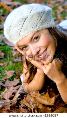 autmun fashion girl portrait with a hat - stock photo