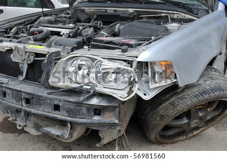 Auto accident - a series of crashed car images. - stock photo