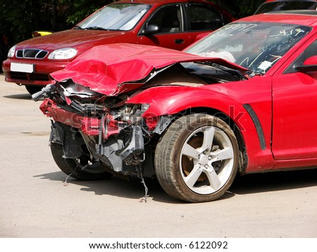 auto accident,truck hit right front - stock photo