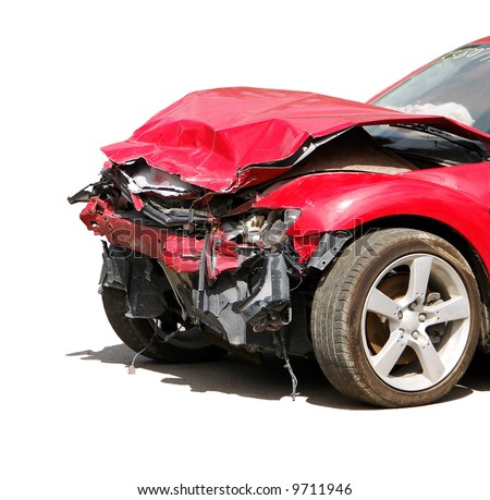 auto accident truck hit right front - stock photo
