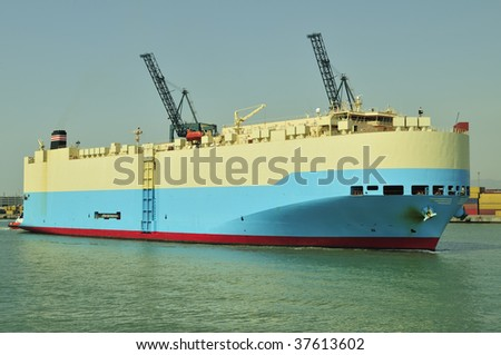 Auto car carrier ship, designed for transportation of cars - stock photo