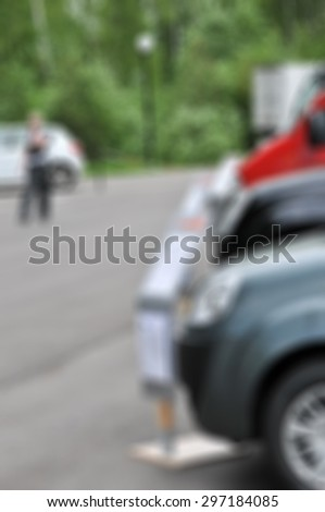 Auto car fleet dealer show theme blur background with bokeh effect