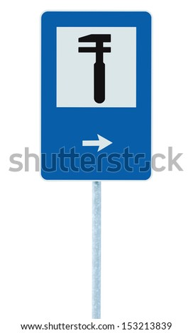 Auto Car Repair Shop Icon, Vehicle Mechanic Fix Service Garage Road Traffic Sign Roadside Pole Post Signage, Isolated, Black Arrow Pointer Right - stock photo