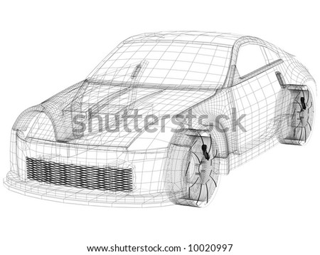 auto/car wireframe with white background - stock photo