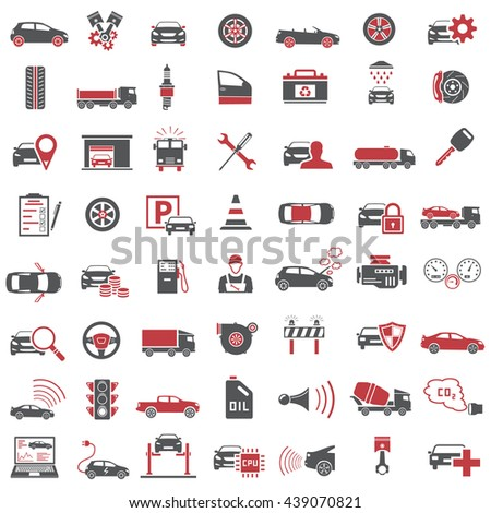 Auto Icons in Red and Black Color - stock photo