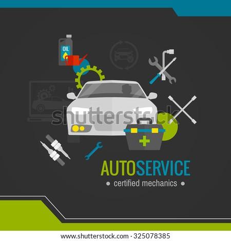 Auto mechanic flat icon with car repair tools set  illustration - stock photo