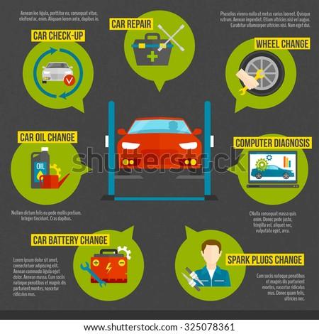 Auto mechanic infographics set with car repair work symbols set  illustration - stock photo