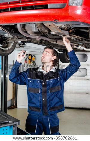 Auto mechanic portrait - stock photo