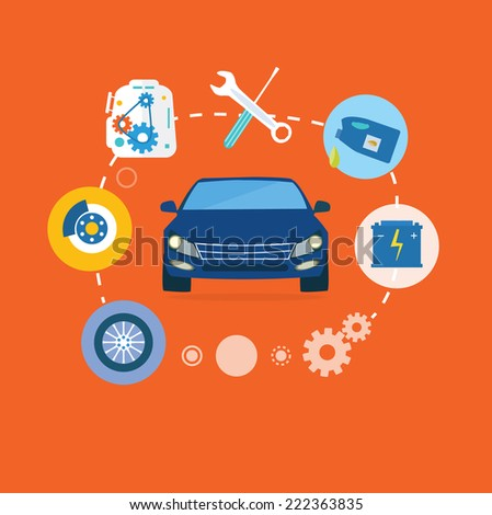Auto mechanic service flat icons of maintenance car repair. Auto service concept. Car service diagnostics. Computers are used to communicate with auto electronics. Raster version - stock photo