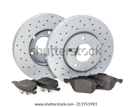 Auto parts. brake mechanism for a car on a white background. pads, disk. - stock photo
