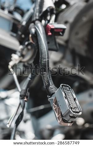 Auto parts dismantling yard. - stock photo