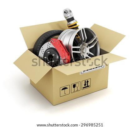 Auto parts in the cardboard box. Automotive basket shop. Auto parts store. - stock photo