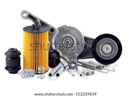 auto parts on a white background. filter, springs. - stock photo