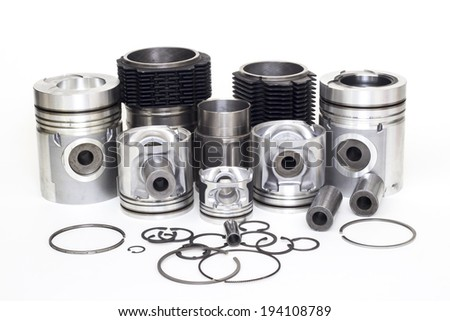 auto piston parts on a white background, crank