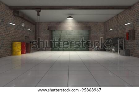 Auto Repair garage interior 3d render - stock photo