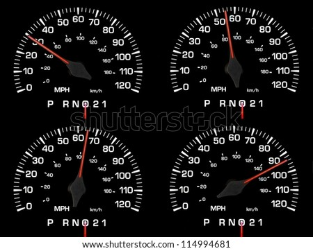 auto speedometer showing 30, 55, 65, 85 mph - stock photo