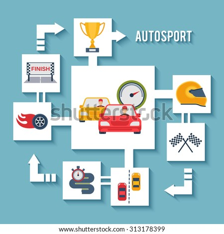 Auto sport concept with paper car wheel helmet and award flat icons  illustration - stock photo