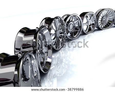Auto steel alloy car rims over the white background - stock photo